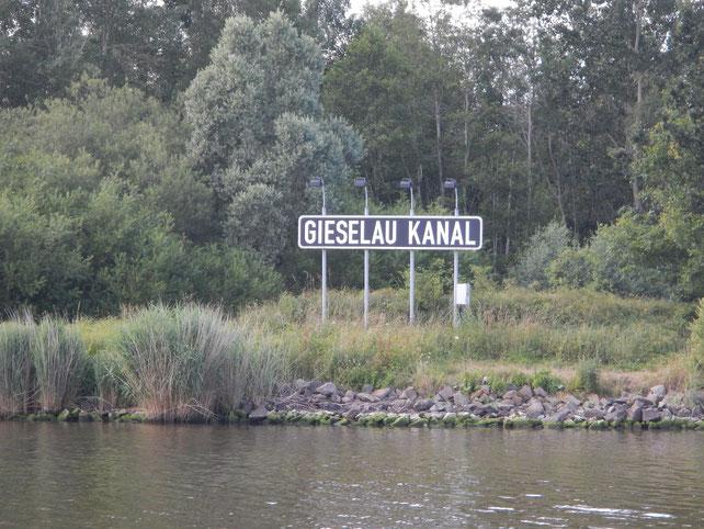 Bei Kilometer 40, abbiegen in den Gieselaukanal