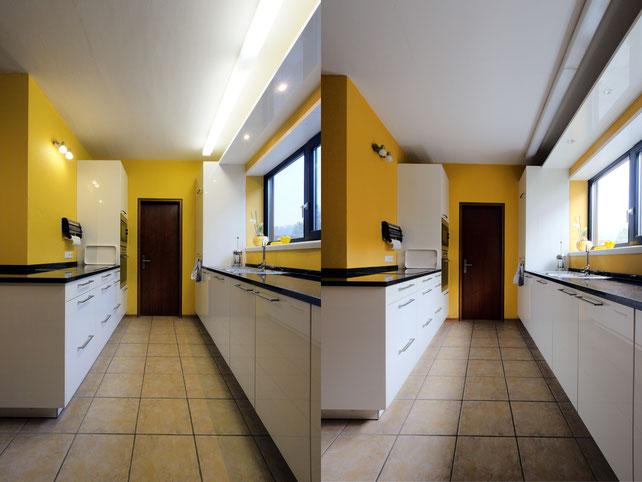 Immobilienfotos: links mit eingeschalteter Beleuchtung, rechts ohne.