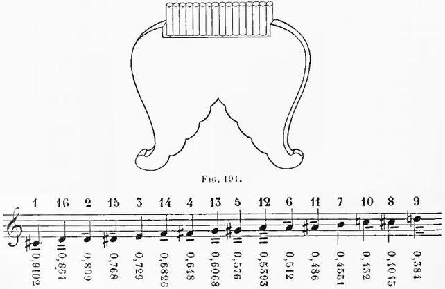 75. Phai syao, flûte de Pan. Echelle.