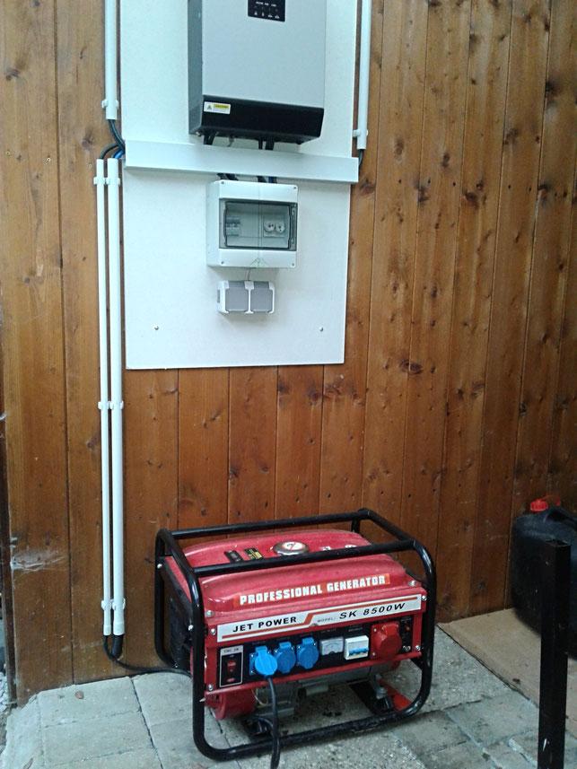 Im Winter/bei höherem Strombedarf schaltet sich ein Stromaggregat zu