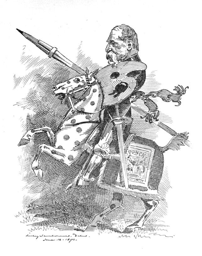『パンチ』1893年6月24日号に掲載されたリンリー・サンボーンによるテニエルの風刺画『白黒騎士』
