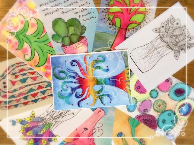 Aquarell, Postkarte, Illustration, Zeichnung, silvanillion