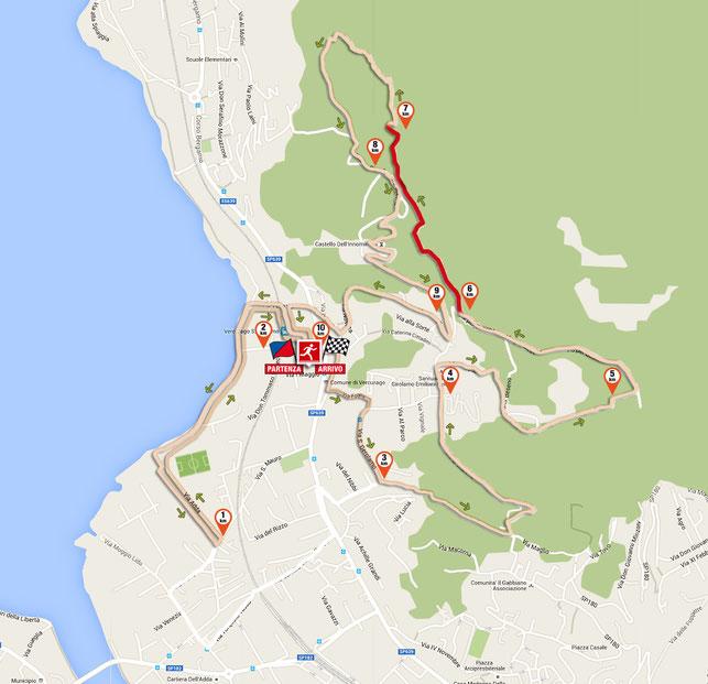 il 7° km del tracciato della corsa