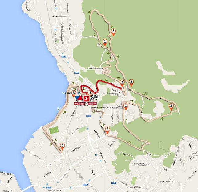 il 10° km del tracciato della corsa