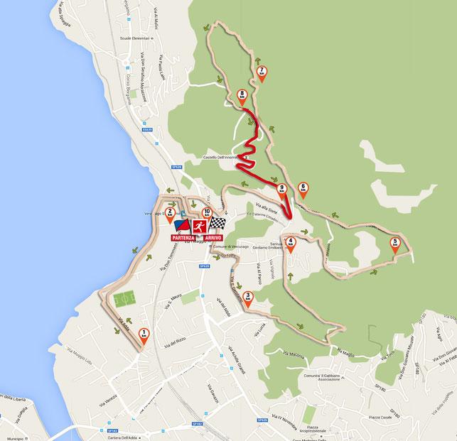 il 9° km del tracciato della corsa