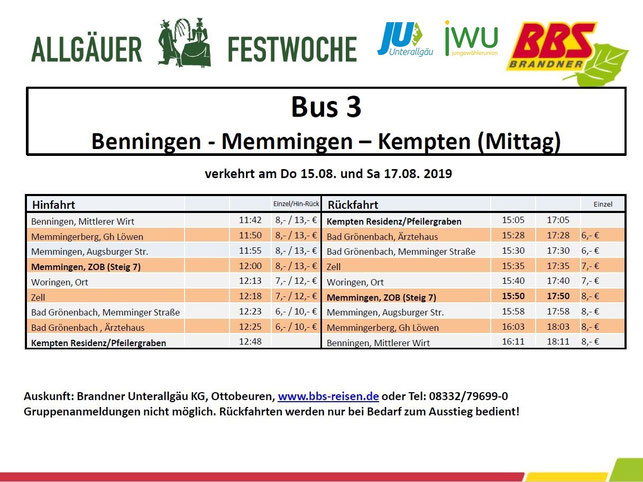Shuttlebus Festwoche 2019 Benningen Memmingen Kempten Mittag