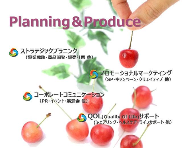 ストラテジックプランニング 事業戦略・商品開発・販売計画  コーポレイトコミュニケーション PR・イベント・展示会  プロモーショナルマーケティング SP・キャンペーン・クリエイティブ  QOL(Quality Of Life)サポート シェアリング・ヘルスケア・ライフサポート