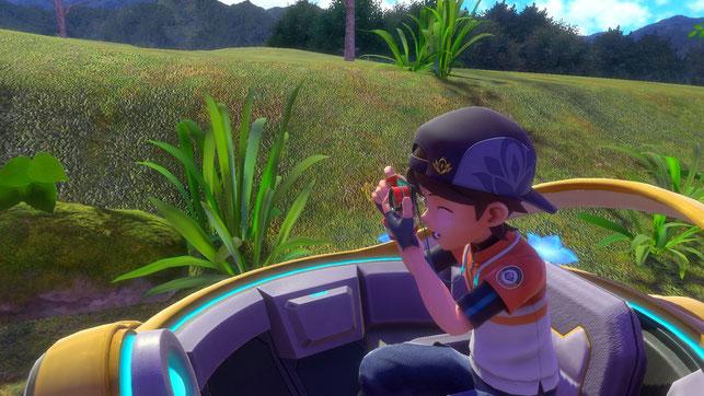 Der Protagonist in New Pokémon Snap macht ein Foto im NEO-ONE