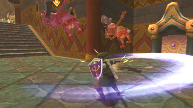 Link führt eine Wirbelattacke aus in The Legend of Zelda: Skyward Sword HD von Nintendo
