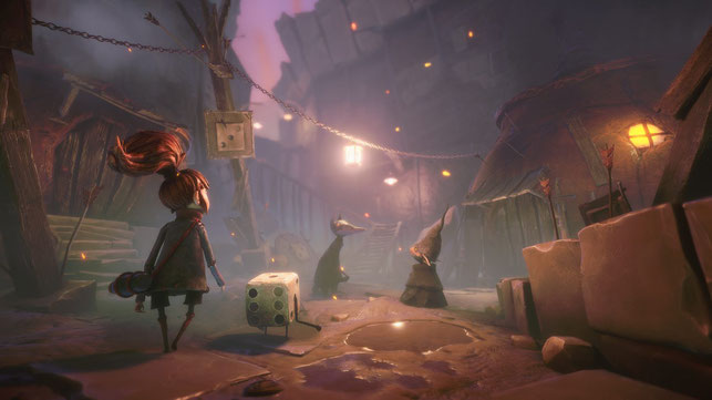 Even und Dicey spazieren im EA Original Lost in Random von Zoink Games durch eine Stadt
