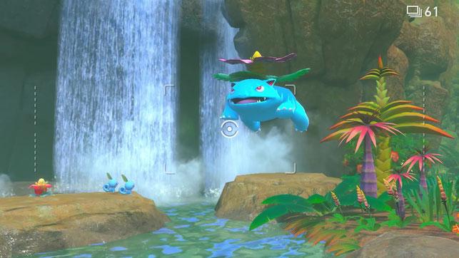 Ein Bisaflor springt in New Pokémon Snap für die Nintendo Switch ins Wasser.
