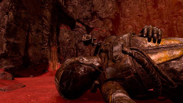 Leiche der Protagonistin Selene aus dem Playstation 5-Spiel Returnal von Housemarque
