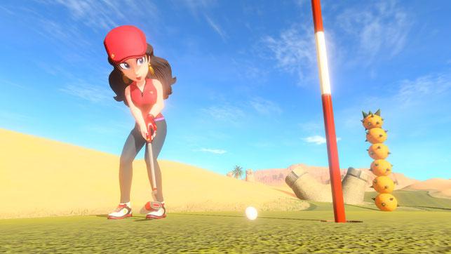 Pauline puttet einen Ball in Mario Golf: Super Rush für die Nintendo Switch