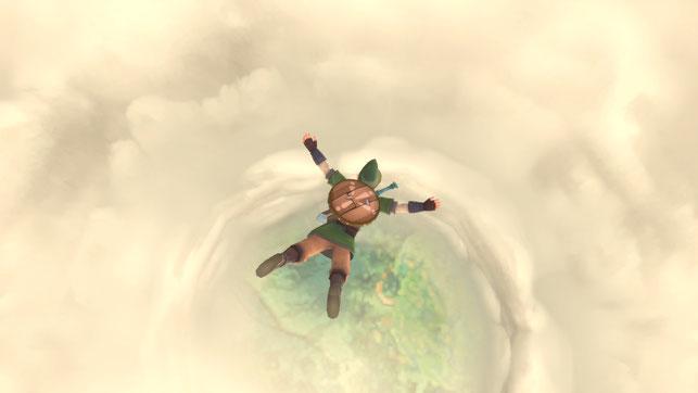 Link springt vom Himmel nach unten in The Legend of Zelda: Skyward Sword HD von Nintendo