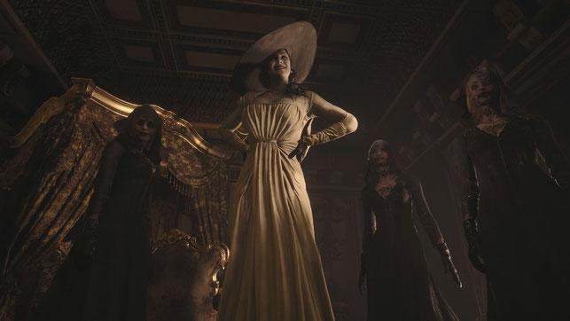 Lady Dimitrescu mit ihren Töchtern in Resident Evil Village von Capcom.