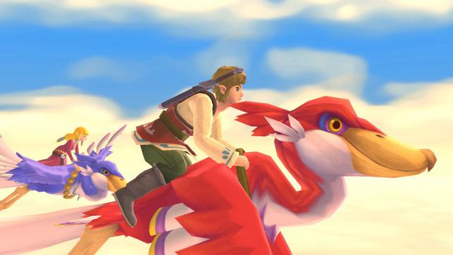 Link und Zelda auf ihren Wolkenvögeln in The Legend of Zelda: Skyward Sword HD von Nintendo