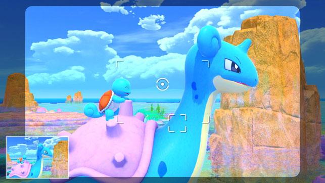 Ein Schiggy reitet auf einem Lapras in New Pokémon Snap für die Nintendo Switch.
