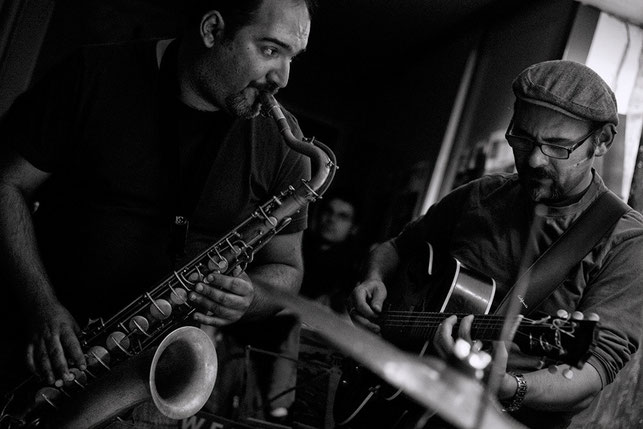 "Thanos Athanasopoulos/Marcos Pin · Athanasopoulos Pin Jazz Quartet · Café  ""El Puente"" · 2013  Photo: Rafa Pasadas"