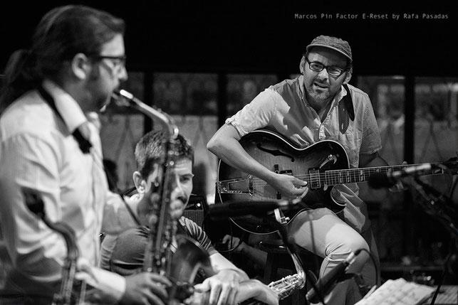 Pablo Castaño/Toño Otero/Marcos Pin · Marcos Pin Factor E- Reset · XXII Festival de Jazz de Pontevedra · 22 / 07 / 2014 ·  Photo : Rafa Pasadas