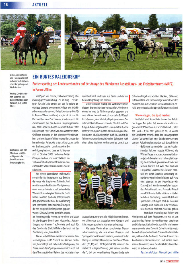 """Der RVI nimmt beim Kostüm-Voltigieren beim Breitensporttag in Paaren/Glien teil, erschienen in der Ausgabe 09/2010 """"Reiten und Zucht"""""""