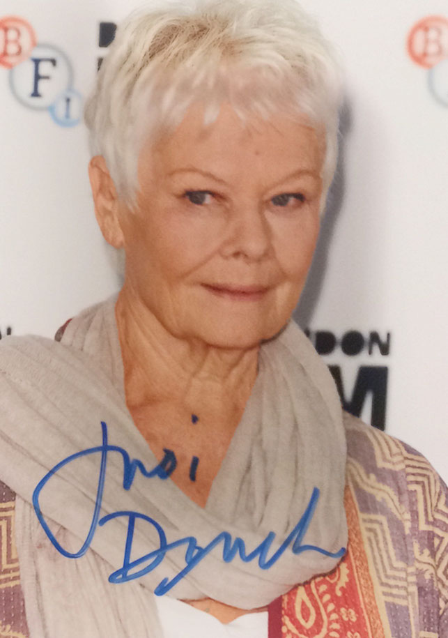 Judi Dench, theatre and film actress, played 'M' in James Bond movies, played Princess Natalia Dragomiroff in 'Murder on the Orient Express', Picture bought at dreamstime, Autograph by Mail