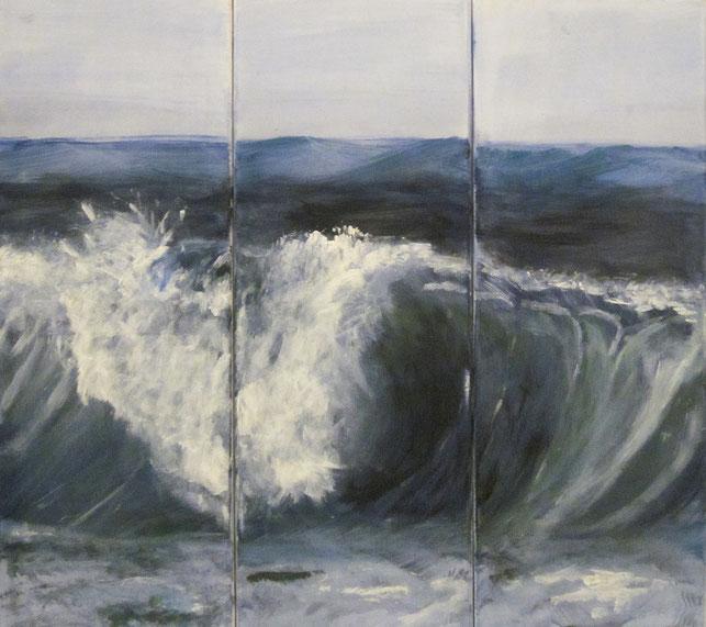Meer, Triptychon, Acryl, Leinwand