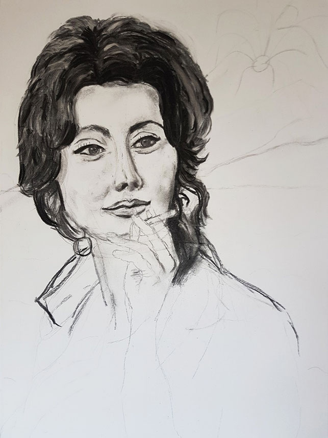 Sophia, Bleistift, Kohle