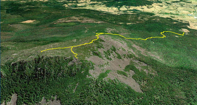 A Google Earth aerial view of my Mount Arthur climbing route
