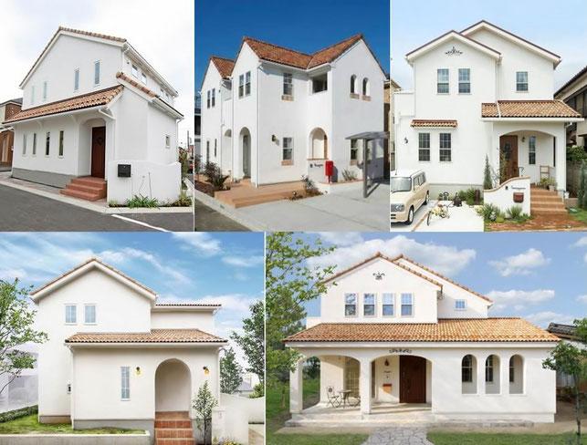 南欧風住宅の数々(ポラスグループ公式サイトより)。