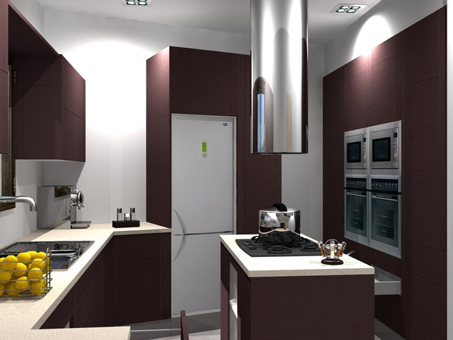 3D Interior Design - Burgundy Kitchen