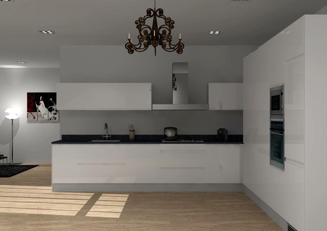 3D Interior Design - White Kitchen