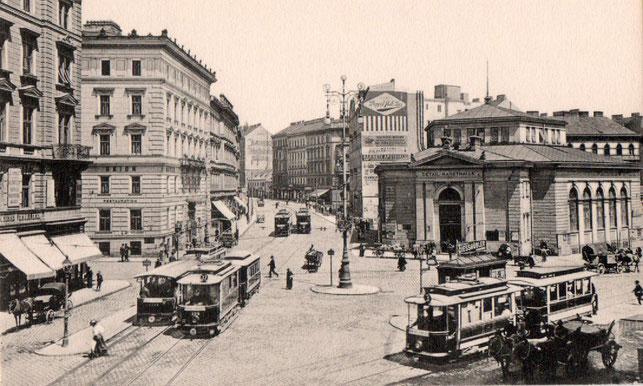 1900 Löblich Stammhaus Nussdorferstrasse Nr 21 (links) und die unter Bezirksvorsteher Franz Löblich erbaute Markthalle  (rechts)