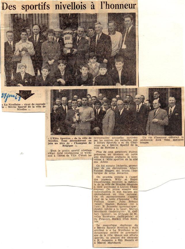 """Article paru dans le journal """"Le Peuple"""" du 27/6/1968"""