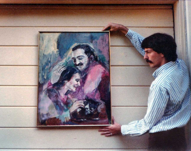 1982 : Christopher holding a Phyllis Ott painting in California 1982.