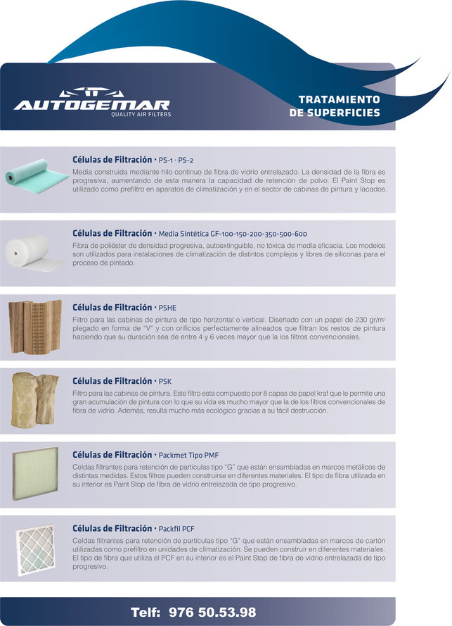 Filtros para cabinas de Pintura de maxima calidad. - AUTOGEMAR, S.L.