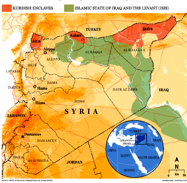 De røde felter på kortet viser de autonome kurdiske enklaver