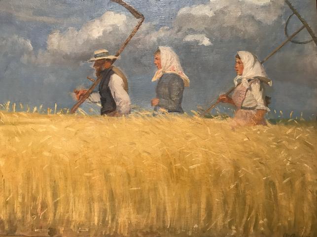 I høstens tid, 1901 Anna Ancher skildrer ofte figurer i landskabet, her ved høsten. Situationen er meget stemningsfuld.