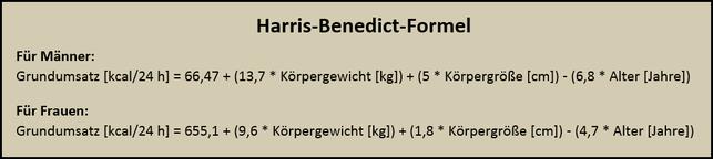Harris-Benedict-Formel: Grundumsatz berechnen