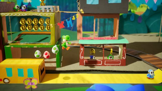 Yoshi, Yoshi's Crafted World, Nintendo, Switch, Poochie, Kamek, Baby Bowser, Mario, Shy Guy, Pappe, Eier, Coop, Blumen, rückwärts, Plattformer, Jump, Run, Kostüme, Traumsonne, Traumjuwelen