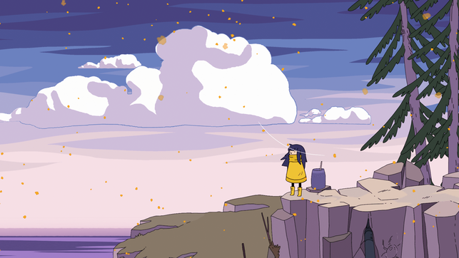 Protagonistin Mo steht an einer Klippe in Minute of Islands von Studio Fizbin
