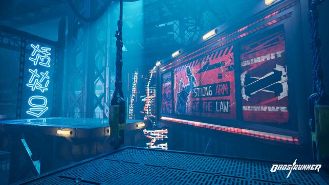 Ghostrunner, Cyberpunk, Ninja, Katana, One More Level, 505 Games, All in! Games, Mara, Keymaster, Wallrun, Turm, Cyberspace, Architekt, Adam, Jack, Dharma Tower, Rebellen, Zoe, Cybervoid, 3D Realms, Unreal Engine, Parcours
