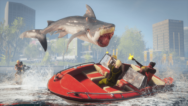 Maneater, Deep Silver, Tripwire Interactive, Hai, Shark, Scaly Pete, Pierre LeBlanc, Kyle, Cajun Queen, Megalodon, Action RPG, Bayou, Dead Horse Lake, Golden Shores, Sapphire Bay, Caviar Key, Prosperity Sands, Golf, Crawfish Bay, Knochen, ELektro, Shadow