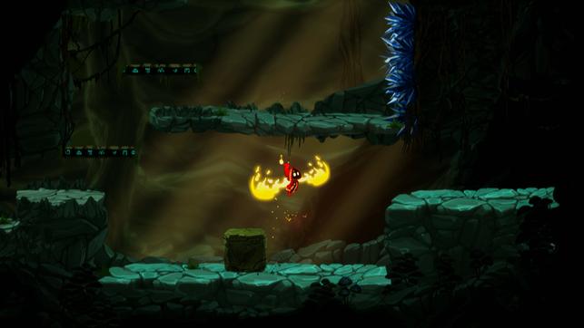 Protagonist Soli führt einen Doppelsprung aus in Unbound: Worlds Apart von Alien Pixel Studios.