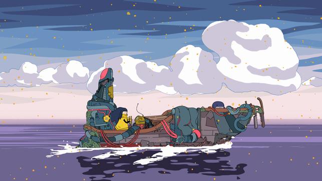 Protagonistin Mo fährt mit ihrem Schiff über Wasser in Minute of Islands von Studio Fizbin