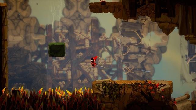Protagonist Soli springt über eine Grube voller Stacheln in Unbound: Worlds Apart von Alien Pixel Studios.