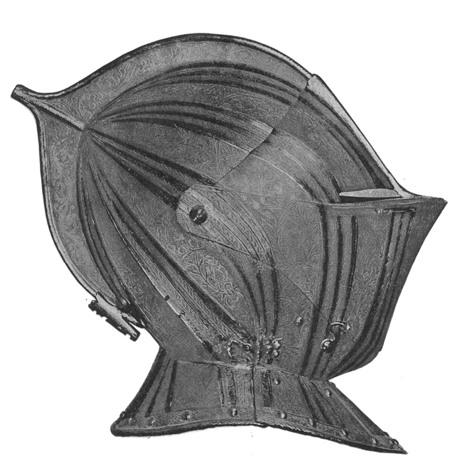Profile of the helmet belonging to the French suit (Fig 32). In the guard-chamber of Windsor Castle.