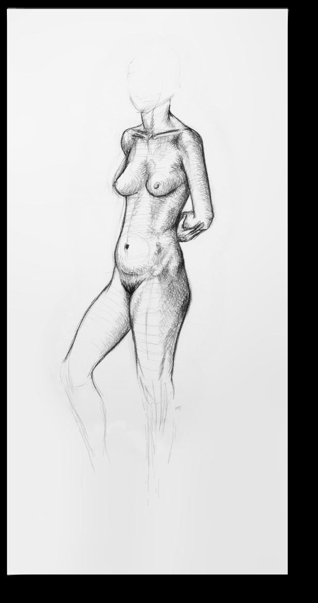Aktzeichnung einer stehenden Frau. Aktzeichnung des Bildhauers Gunter Schmidt. Frau nackt, gezeichnet auf Papier. Papierzeichnung Frauenakt. Zeichenstudien des Bildhauers Gunter Schmidt.