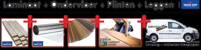 Een quick-step aanbieding laminaat, ondervloer, plinten transport en leggen voor een lage vaste prijs bij de laminaatexpert