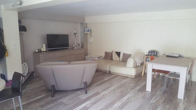 Un appartement en sous-sol : l'éclaircir par un choix naturel dans les teintes et le mobilier.,  Tours 37, Isabelle Mourcely, décoratrice UFDI Tours 37000 Chinon37500
