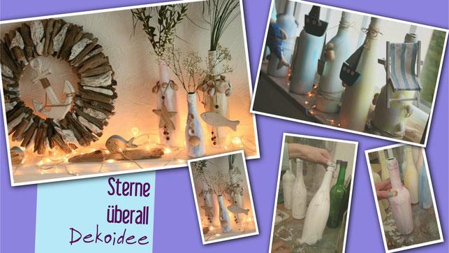 Flaschen als Vasen umfunktioniert und bunt angestrichen und mit Treibholzkranz maritim dekoriert
